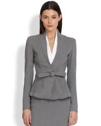 Donna Karan | Gray Belted Wrap Jacket | Lyst