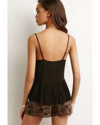 Forever 21 - Black Embroidered Crepe Cami - Lyst