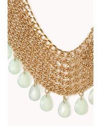 Forever 21 Green Goddess Teardrop Chain Bib Necklace