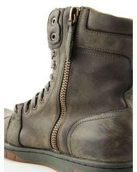 DIESEL - Green Basket Butch Zippy Leather Boots for Men - Lyst