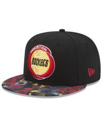 KTZ Black Houston Rockets Hwc Floral Shadow 9fifty Snapback Cap for men