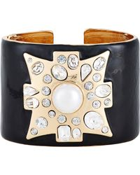 Kenneth Jay Lane | Black Women's Maltese Cross Hinged Cuff | Lyst