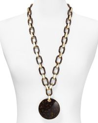 Michael Kors - Brown Tortoise Print Link Disk Necklace 32 - Lyst