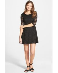Lush Black Lace Fit & Flare Dress