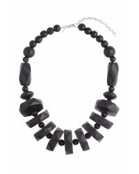 TOPSHOP | Black Chunky Wood Stack Collar | Lyst