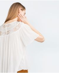Zara | Natural Lace Neck Top | Lyst