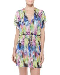 MILLY - Gray Palmones Marble-Print Coverup Dress - Lyst