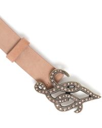 Liu Jo | Natural 'lj Strass Plaque' Belt | Lyst