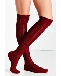 Urban Outfitters - Purple Braided Rib Over-the-knee Sock - Lyst