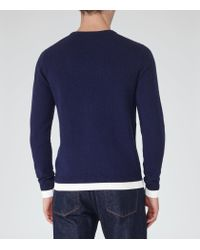 Reiss - Blue Hope Contrast Hem Jumper for Men - Lyst
