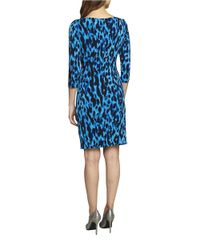 Tahari | Blue Printed Knit Dress | Lyst