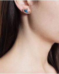Dezso by Sara Beltran | Blue 18k Rose Gold Opal & Diamond Shark Fin Earrings | Lyst