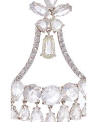 Nina Runsdorf - White Rose Cut Diamond Chandelier Earrings - Lyst