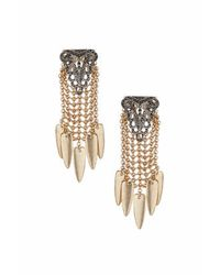TOPSHOP - Brown Rhinestone Ornate Front Earrings - Lyst