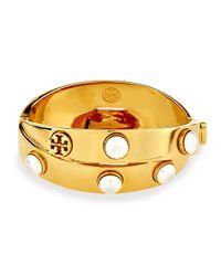 Tory Burch | Metallic Golden Glass Pearl Double-wrap Bracelet | Lyst