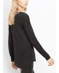 Vince - Black Two-toned Double Layer Long Sleeve Crew Neck Tee - Lyst