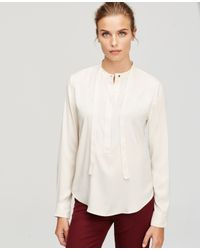 Ann Taylor | Natural Silky Tie Neck Blouse | Lyst