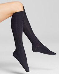 Hue Blue Cable Knit Knee Socks