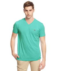 Lacoste - Green V-neck Cotton Tee for Men - Lyst