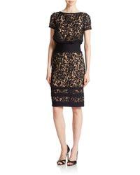 Tadashi Shoji | Black Blouson Lace Overlay Dress | Lyst