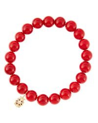 Sydney Evan | 8Mm Red Coral Beaded Bracelet With 14K Gold/Diamond Medium Ladybug Charm (Made To Order) | Lyst