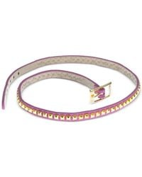 Guess - Metallic Gold-Tone Pink Faux Leather Stud Wrap Bracelet - Lyst