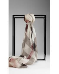 Burberry - Natural Check Silk Crépon Scarf - Lyst