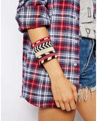 ASOS - Multicolor Seed Bead Stripe Cuff Bracelet - Lyst