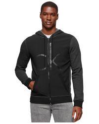 Calvin Klein Jeans | Black Ck Debossed Full-zip Hoodie for Men | Lyst
