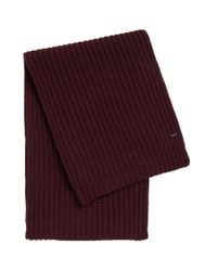HUGO | Red 'zaffano' | Virgin Wool Chunky Scarf for Men | Lyst