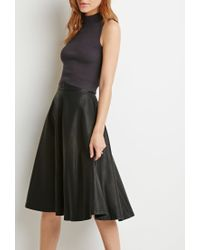 Forever 21 - Black Contemporary Faux Leather A-line Skirt - Lyst