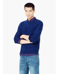 Mango - Blue Stripe Textured Sweater for Men - Lyst