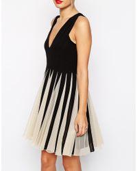 ASOS Black Mesh Insert Fit And Flare V Neck Mini Dress