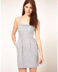 ASOS Collection - Blue Asos Tulip Dress in Stripe - Lyst