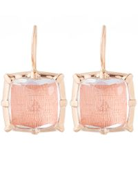 Larkspur & Hawk Pink Peach Rose Gold Quartz Bella One Drop Earrings