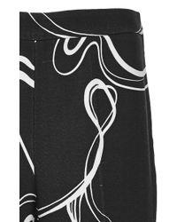 Giambattista Valli - Black Scribble Crepe Flared Trousers - Lyst