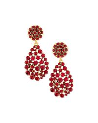 Oscar de la Renta | Red Crystal Teardrop Clip-on Earrings | Lyst