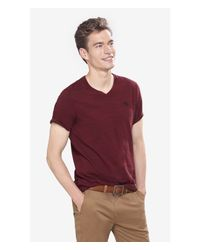 Express | Red Space Dyed Small Lion V-neck Tee for Men | Lyst
