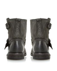 Dune Black Peddley Washed Leather Ankle Boots