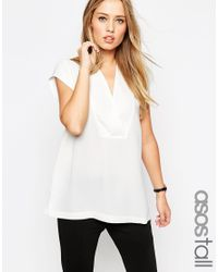 ASOS - White Tall Clean Wrap Front Deep V T-shirt - Lyst