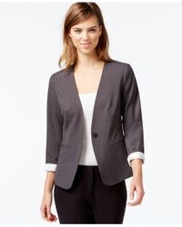 Kensie | Gray Three-quarter-sleeve Collarless Blazer | Lyst