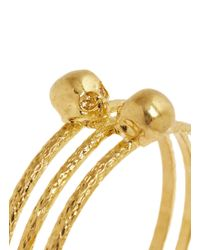 Alexander McQueen | Metallic Skull Embellish Triple Band Bangle | Lyst