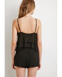 Forever 21 Black Layered Flounce Romper