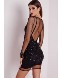 Missguided Premium Embellished Long Sleeve Mesh Bodycon Dress Black