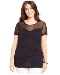INC International Concepts | Black Plus Size Tiered Illusion Top | Lyst