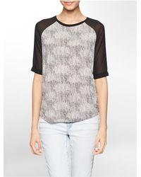 Calvin Klein - Gray Jeans Marble Print Sheer 3/4 Sleeve Top - Lyst