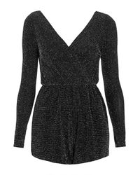 TOPSHOP Black Lurex Long Sleeve Wrap Playsuit By Oh My Love