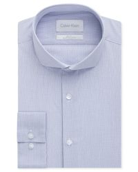 Calvin Klein - Platinum Slim-Fit Delf Blue Check Dress Shirt for Men - Lyst