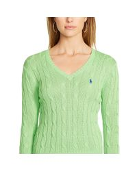 Polo Ralph Lauren - Green Cable V-neck Sweater - Lyst