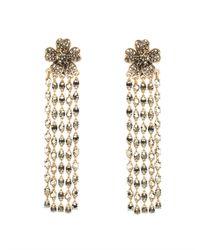 Oscar de la Renta | Metallic Multistrand Crystal Flower Earrings | Lyst